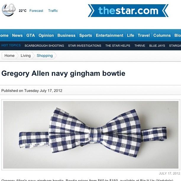 GAC : Toronto star #bowtie #gac #gregoryallencompany #torontostar #gingham - via Instagram