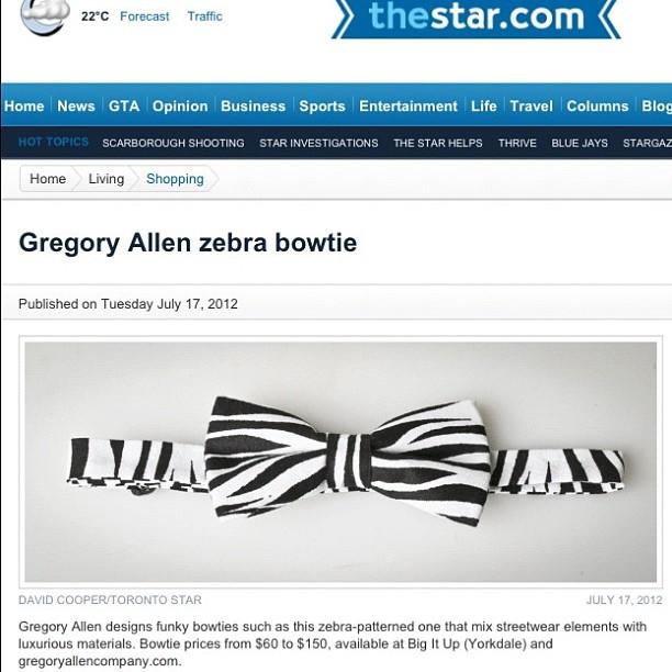 GAC: Toronto Star #bowtie #gac #gregoryallencompany #torontostar #zebra – via Instagram