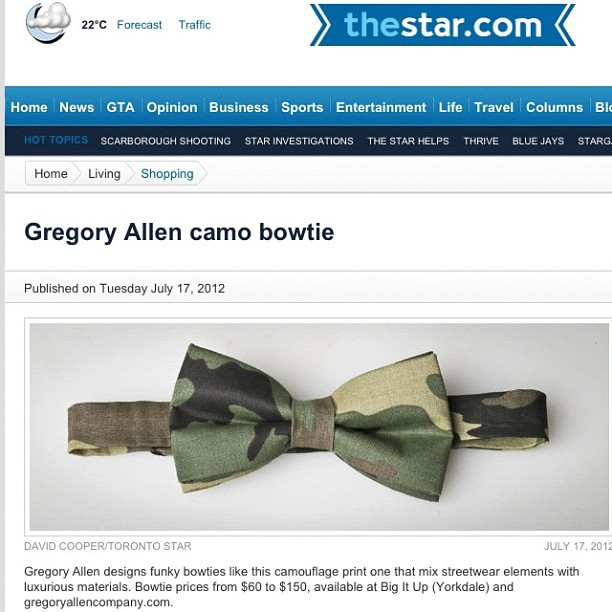 GAC : Toronto star newspaper #bowtie #gac #gregoryallencompany #camouflage #torontostar – via Instagram