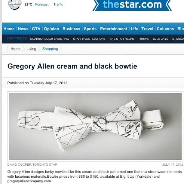 GAC : Toronto Star #torontostar #gregoryallencompany #gac #bowtie #map - via Instagram
