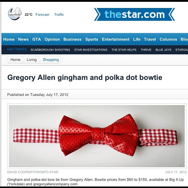 GAC : Toronto Star #torontostar #gregoryallencompany #gac #bowtie #red #leather – via Instagram