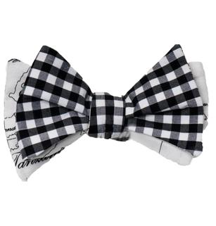 Men's Gingham & Map Self Tie Bow Tie