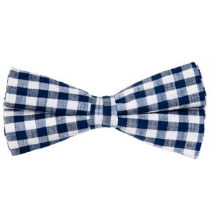 Men's Navy & White Gingham Bow Tie