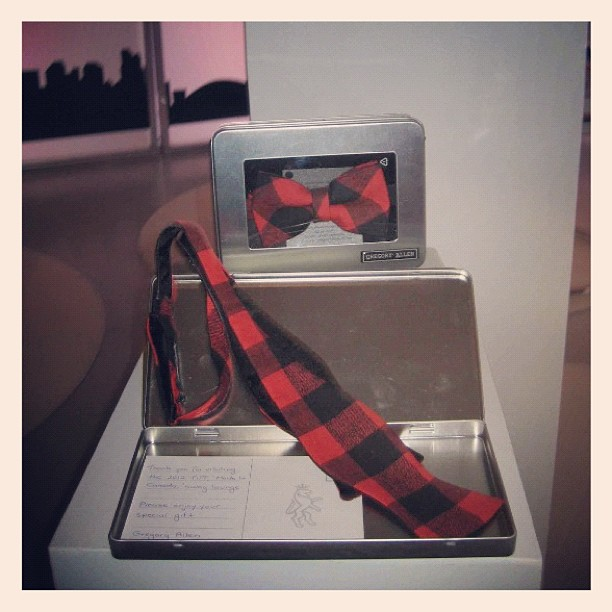 "GAC : George Stroumboulopoulos Tonight ""Made in Canada"" gift lounge for TIFF 2012 #gac #menswear #bowtie #gregoryallencompany #custom - via Instagram"