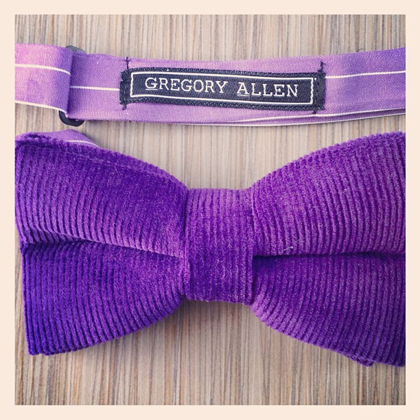 Beautiful... #bowties #gregoryallencompany #gac #purple #corduroy #women - via Instagram