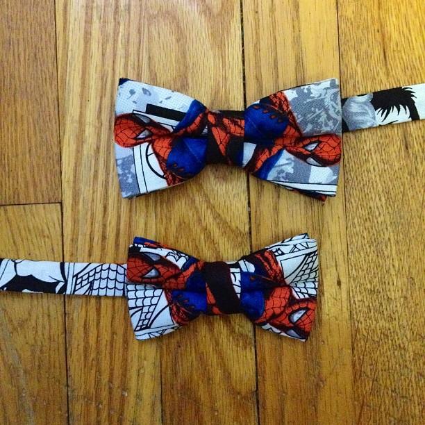 GAC : Bespoke Mother / Son spiderman bow ties #gac #gregoryallencompany #bowtie #bespoke #spiderman #Mother/Son - via Instagram