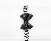 Girls Leather Zebra Print Bow Tie Head Band-shop (rev)