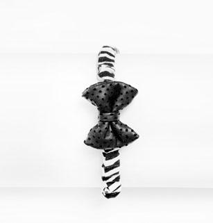 Girl's Black Leather with Zebra Print Bow Tie Headband