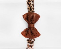 Girl's leather leopard print bow tie headband-shop (rev)