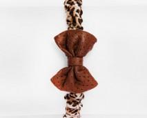 Girl's leather leopard print bow tie headband-shop (rev)