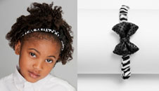 Girl's zebra print bow tie headband - feature2rev