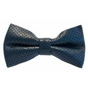 Men's Navy Blue Perforated Leather Bow Tie