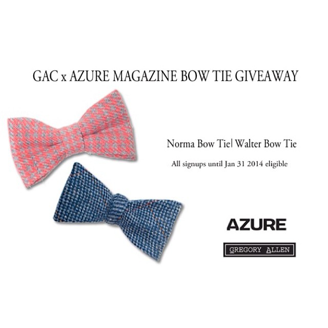 G.A.C. and Azure the leading North American architecture and design magazine bow tie giveaway. Inspired by architects Walter Gropius and Norma Merrick Sklarek, for contest details http://www.azuremagazine.com/newsletter-signup/http://www.gregoryallencompany.com/blog #GACxAZURE #bowties – via Instagram