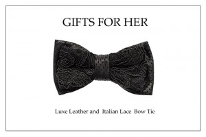 Holiday Bow Tie_ Leather and Lace Bow Tie copy