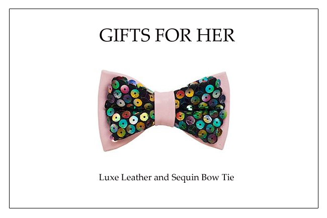 Holiday Bow Tie_Pink Leather Sequin Bow Tie