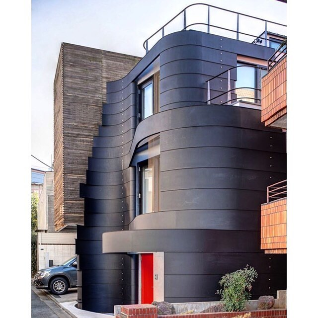 """Amazing Design…. Defined by a dynamic steel envelope, Ron Arad has completed this private residence- """"D house"""" -situation in the popular Shibuya district in Tokyo. The three stacked components decrease in size as the height of the building increases M: @designboombowties #gacbowtie  #mensaccessories #madeincanada #mensstyle #motivation #coolbowties  #collection #fashionbloggers  #necktie #suitandtie #mensfashionbloggers #fashionblog #gentlemen #gq #menswear #hipsters ##womenswear #architecture #womenaccessories #architecture #womenfashionbloggers #amazingdesign#designboom #ronarad #tokyo – via Instagram"""