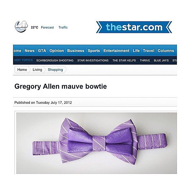 #TBTBespoke: Gregory Allen leather mauve bow tie.Feature : The Toronto StarGregoryallencompany.com/bespoke#torontostar #gacbowtie #bowtie #leather #toronto #purple #mauve #oodt #mensaccessories #womenaccessories #madeincanada #mensstyle  #motivation #coolbowties  #collection #fashionbloggers  #necktie #suitandtie #mensfashionbloggers #fashionblog #gentlemen #gq #menswear #hipsters #womenswear #womenaccessories #womenfashionbloggers - via Instagram