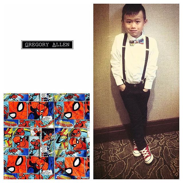 The gift for him:  Bespoke  kids wedding spiderman bow tieGregoryallencompany.com#bowtie #wedding  #bespoke #spiderman #gacbowtie  #toronto #gift #kids #boys #madeincanada #mensaccessories #mensstyle #womenstyle #motivation #coolbowties  #collection #fashionbloggers  #necktie #suitandtie #mensfashionbloggers #fashionblog #gentlemen #gq #menswear #hipsters  #concept #ootd #gentlemen – via Instagram